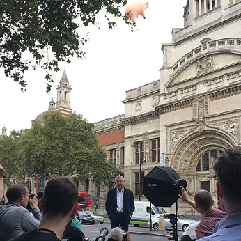 Nick Mason announcing Their Mortal Remains outside the Victoria & Albert Museum, London